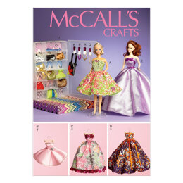 "McCall's Formal Dresses Accessories Closet and Hangers for 11«"" Doll M6903 - Paper Pattern Size O"