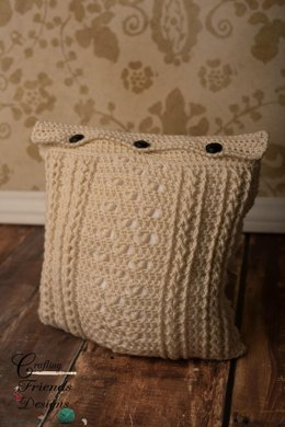 Braided Cable Block Square Pillow