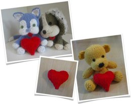 Valentine's Day Trio - Cat, Dog and Bear