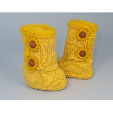 Baby Sunflower Button Booties