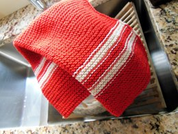Striped Dish Towel with I-cord Edge