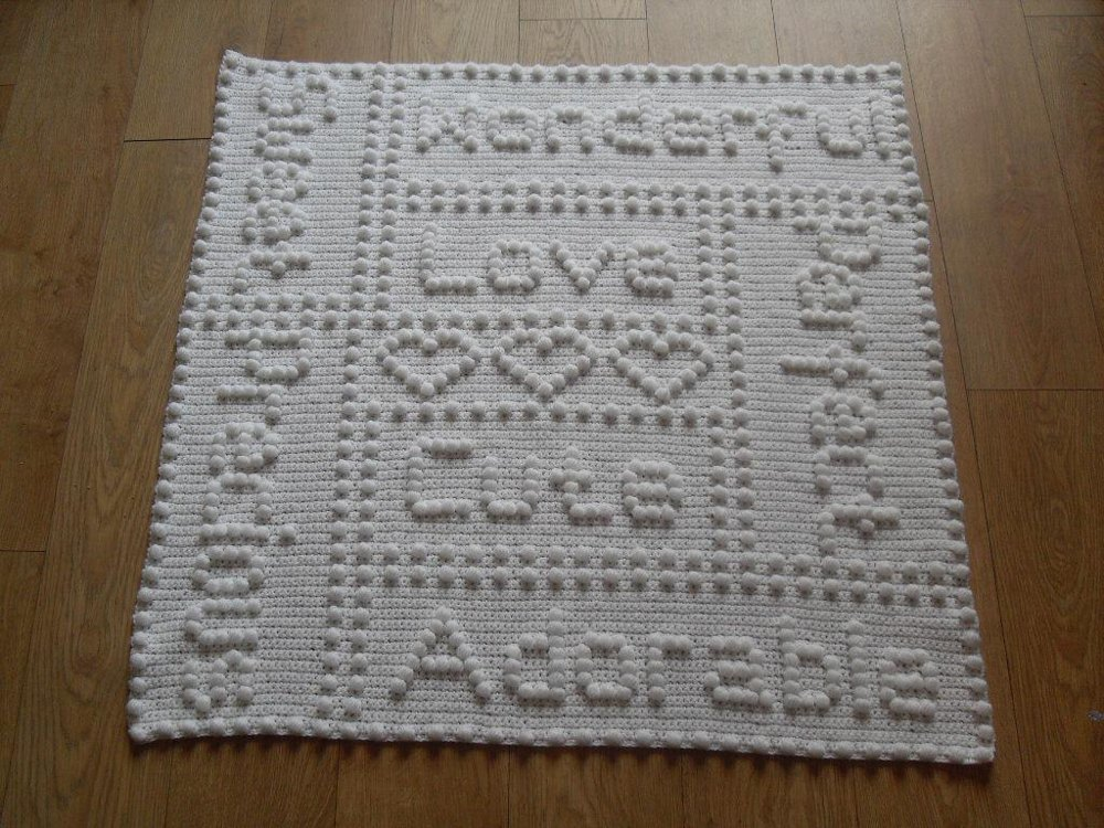 Precious Words One Piece Baby Blanket Crochet Pattern By