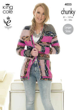 Ladies Cardigans in King Cole Big Value Multi Chunky - 4025