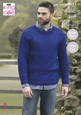 Mens Sweater & Jacket in King Cole Majestic DK - 4925 - Downloadable PDF