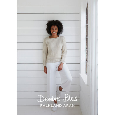 Brancaster Jumper : Jumper Knitting Pattern for Women in Debbie Bliss Aran Yarn