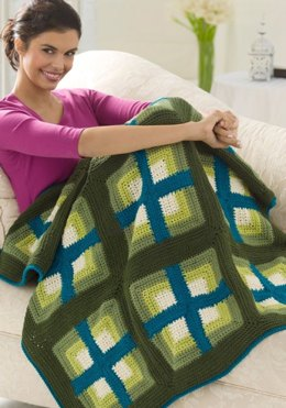 Windows Afghan in Red Heart Super Saver Economy Solids - WR2035