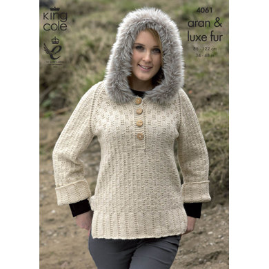 Sweater with Hood and Top with Separate Cowl in King Cole Aran and Luxe Fur - 4061