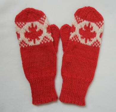 O Canada Maple Leaf Mittens Knitting Pattern By Cheryl Andrews