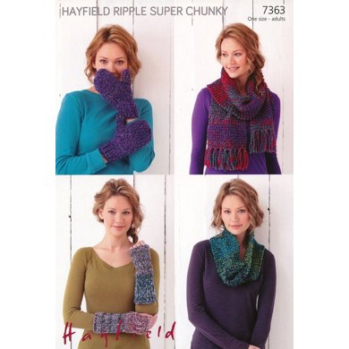 Snood, Wrist Warmers, Mittens and Scarf in Hayfield Ripple Super Chunky - 7363