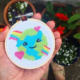 The Make Arcade Mini Cross Stitch - Love the Planet