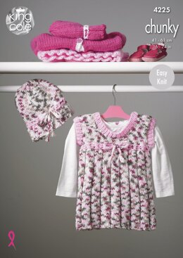 Pinafore Dress, Cardigans & Hat in King Cole Chunky - 4225 - Downloadable PDF