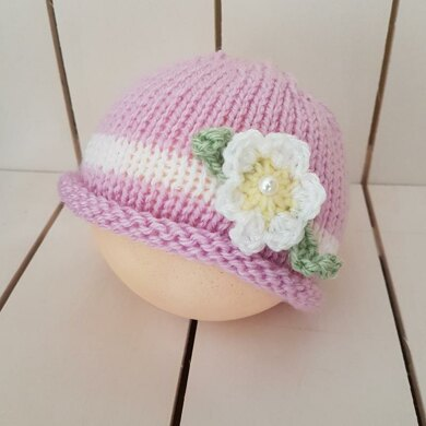 Easy Baby Girl Flower Beanie