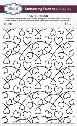 Creative Expressions Embossing Folder By Sue Wilson - Heart Strings