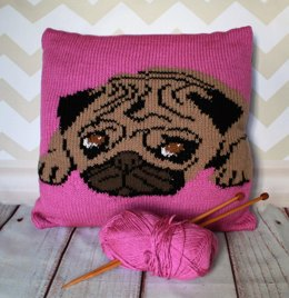 Pug Pet Portrait Cushion Cover Knitting Pattern