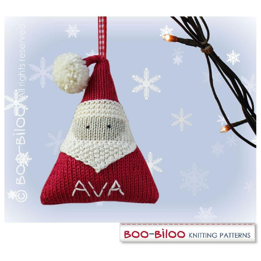 Santa Claus Personalized Christmas Decoration Holiday Ornament Knitting Pattern By Boo Biloo