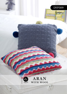 Chevron Pom-Pom Cushion Set in DY Choice Aran With Wool - DYP309