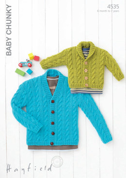 V Neck and Shawl Collar Cardigans in Hayfield Baby Chunky - 4535 - Downloadable PDF