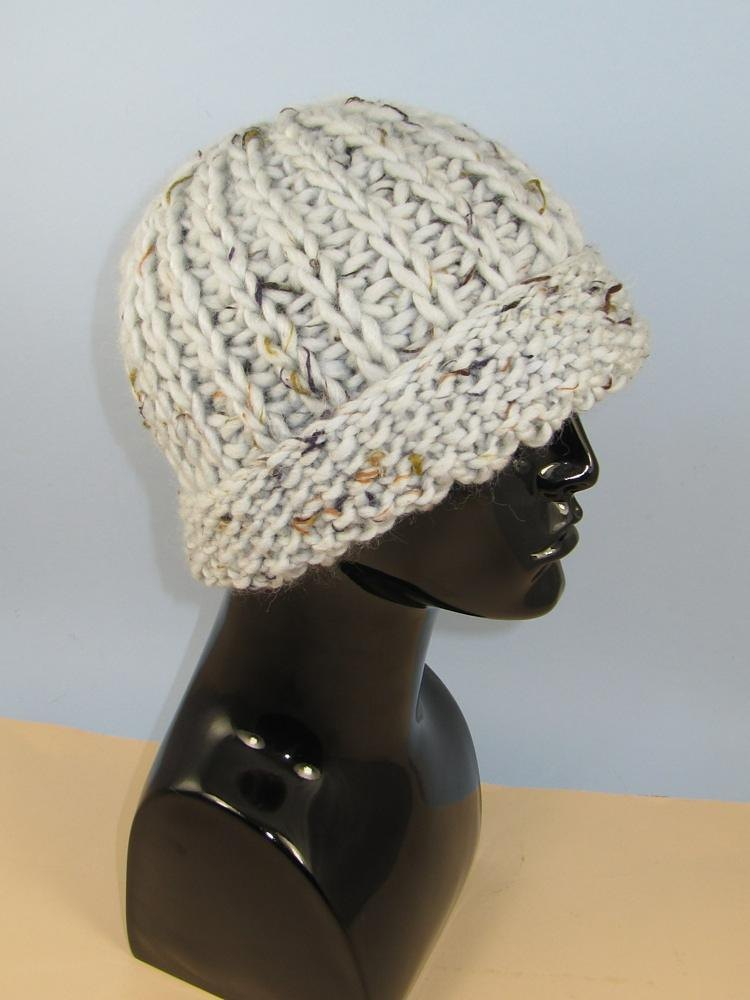 Super Chunky Moss Stitch Cuff Fishermans Rib Beanie Hat