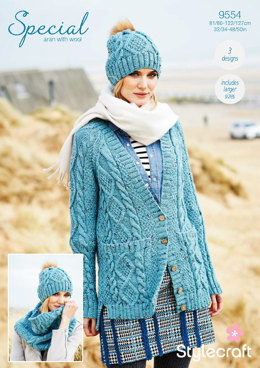Cardigan, Snood & Hat in Stylecraft Special Aran with Wool - 9554 - Downloadable PDF