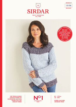 Ladies Sweater in Sirdar No.1 Stonewashed Aran - 10106 - Leaflet