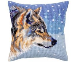 Collection D'Art Winter Wolf Cross Stitch Cushion Kit - 40cm x 40cm