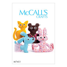 McCall's Cat Bear Rabbit and Dog Stuffed Animals M7451 - Paper Pattern Size One Size Only