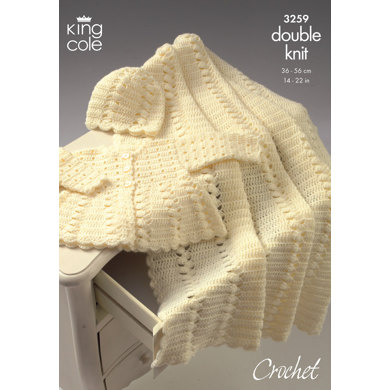 Coat, Shawl and Hat Crocheted in King Cole Comfort Baby DK - 3259