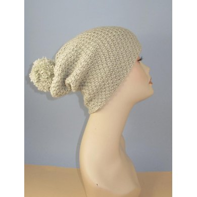 Chunky Big Bobble Double Moss Stitch Slouch Hat