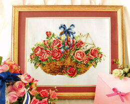 Needleart World Basket of Roses No-Count Cross Stitch Kit - 38 x 25cm