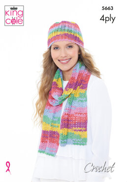 Hat, Scarf & Triangular Wrap in King Cole Summer 4Ply - 5663 - Leaflet