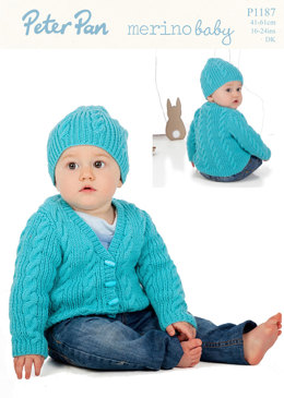 Cable Cardigan and Hat in Peter Pan Merino Baby DK - 1187