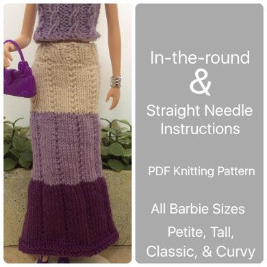 Curvy Classic Barbie Easy Maxi Skirt Knitting Pattern By Mettacreative