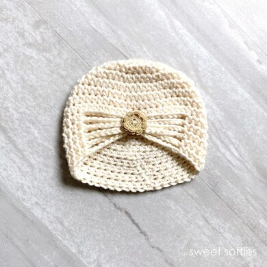 Baby's Buttoned Turban Hat