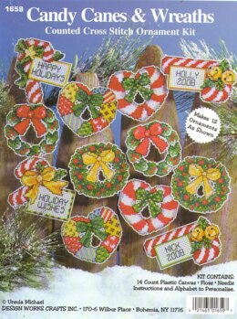 Design Works Candy Canes and Wreaths Ornaments Cross Stitch Kit
