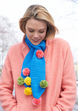 Pom Pom Scarf in Caron Simply Soft and Simply Soft Brites - Downloadable PDF