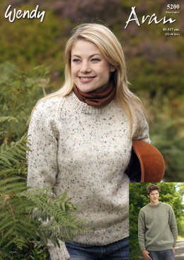 b22d67abd879 Round Neck Raglan Sweater in Wendy Aran with Wool 400g - 5200
