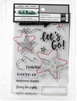 American Crafts Vicki Boutin Mixed Media Stamps & Dies - Let's Go W/Magnetic Sheet & Pouch
