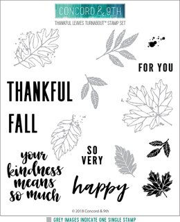 """Concord & 9th Clear Stamps 6""""X6"""" - Thankful Leaves Turnabout"""