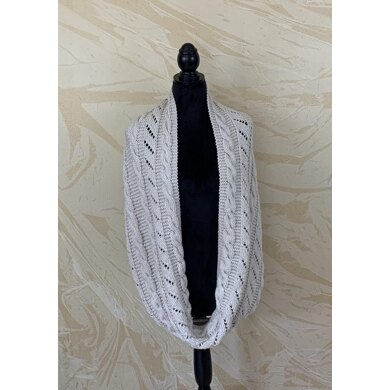 Infinity Scarf with Cables and Lace Stripes