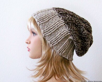 8ee1a851e Slouchy Rib Beanie Hat Knitting pattern by Natalya1905