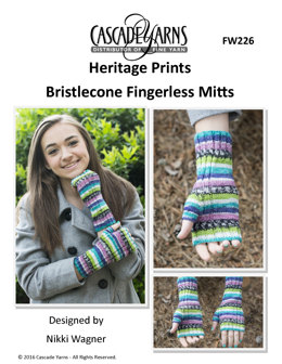 Bristlecone Fingerless Mitts in Cascade Yarns Heritage Prints - FW226 - Downloadable PDF