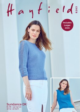 3/4 Sleeved Sweater and Sleeveless Vest in Hayfield Sundance DK - 8263 - Downloadable PDF