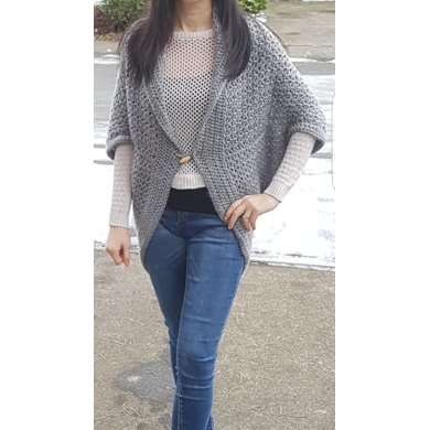 V-Stitch Long Button Shrug