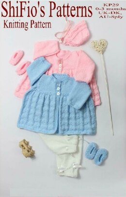 Knitting pattern Baby Lovehearts Matinee Jacket  #29
