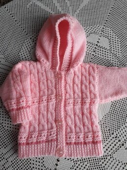 Cable and lace baby hoodie
