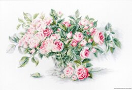 Luca-S Bouquet of Pink Roses Cross Stitch Kit (25 count linen fabric)