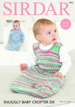 Long Sleeved and Sleeveless Sleeping Bag in Sirdar Snuggly Baby Crofter DK - 4755 - Downloadable PDF