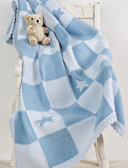 Twilleys Blue Check Baby Blanket Knitting Kit