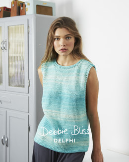 """Simple Tank Top"" - Top Knitting Pattern For Women in Debbie Bliss Delphi"