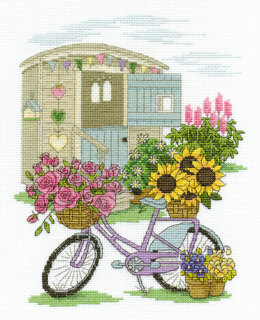 DMC Flowery Bicycle 14 Count Cross Stitch Kit - 21.6cm x 30.5cm - BK1549
